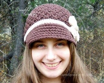 Crochet Hat Pattern Womens Daisy Visor Beanie Crochet PDF 150 Newborn to Adult  Photography Prop Instant Download