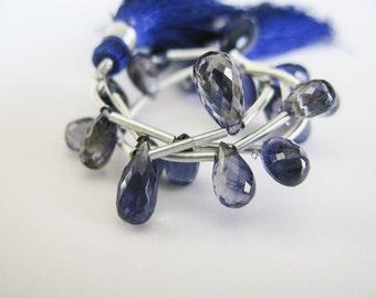 Iolite Teardrop Briolettes, AAA, Half Strand, aaagems, 7-10mm, 10 Iolite Beads
