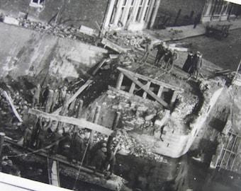 WWI Onlookers at Bridge Blown Up by Germans, Audenarde, Belgium - Soldier's Personal Photograph Postcard