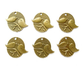 6 Antique Bronze Two Birds Charms - 21-16-4