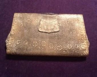 Art Deco Vintage 20's - 30's Lizard Reptile Skin Clutch Bag / Purse, British made