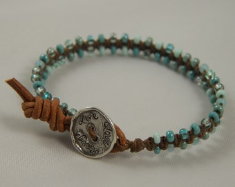 Turquoise Linen Wrap Bracelet on Brown Irish Linen Waxed Cord - Live Love Laugh Sterling Silver Button Macrame Bracelet Linen Bracelet