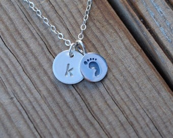Silver baby footprint necklace, footprint and initial necklace, footprint necklace, initial necklace, new mommy gift, baby necklace