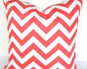 Coral PILLOWS CORAL Decorative Throw Pillows  Coral Chevron Pillow Covers 16 18x18 20 salmon orange Coral Pillow Covers Home Decor
