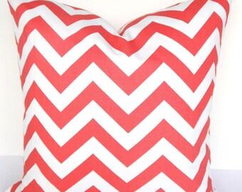 Coral PILLOWS CORAL Decorative Throw Pillows  Coral Chevron Pillow Covers 16 18x18 20 salmon orange Coral Pillow Covers Home Decor