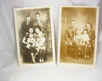 RARE whole family 2 postcard set RPPC real photo Ed Pauline Jimmy JR 1940