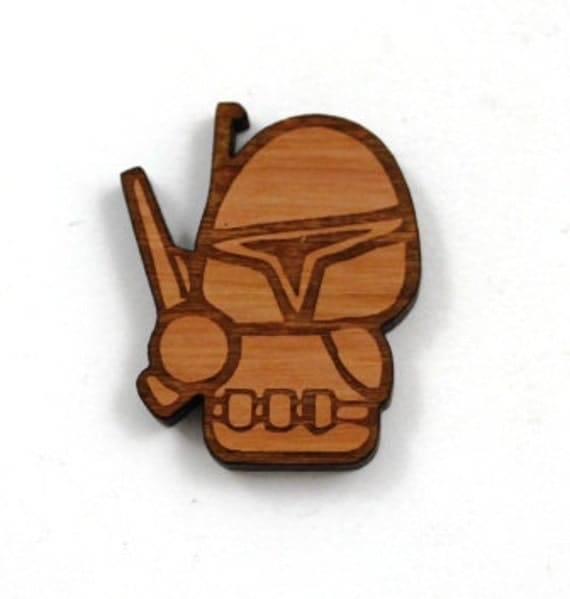 Laser Cut Supplies- 1 Piece.Boba Fett Charms - Cherry Wood Laser Cut Boba Fett -Brooch Supplies- Little Laser Lab Sustainable Wood Products