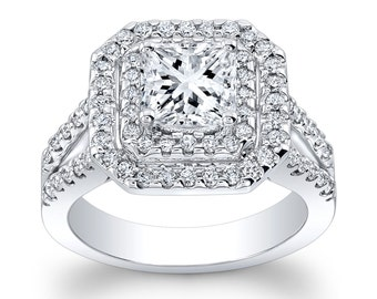 Ladies 14kt pave diamond double halo engagement ring w/1ct natural Princess Cut white sapphire with 0.75 ctw G-VS2 diamonds