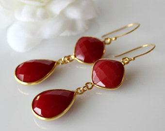 Red Onyx Double Drop Earrings, Red Stone Bezel, Red Gemstone, Crimson Dangle, Red Onyx Jewelry