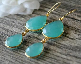 Long Aqua Chalcedony Double Drop Earrings, Cascade Drop Earring, Aqua Blue Dual Dangle, Fancy Jewelry, Gold Vermeil, Aqua Jewelry