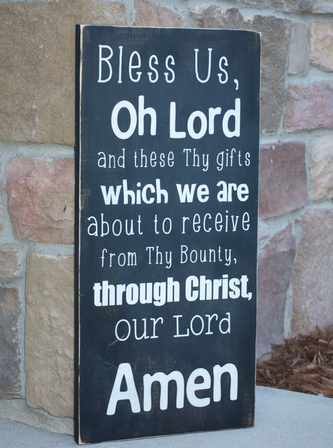 Meal Prayer Wood Sign Black And White