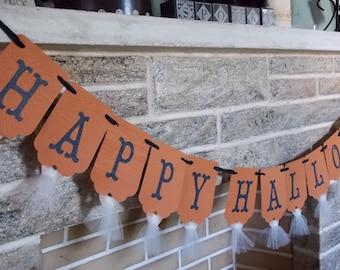 Happy Halloween Banner Vintage Style Orange Black and Cream Halloween Decoration