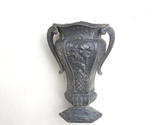 Antique French Spelter Handled Vase Heavy Art Deco By BRITALIS