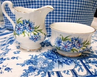 Cream and Sugar Set, Royal Standard, Blue Flowers