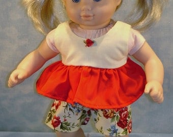 Red and Yellow Floral Shorts Set made to fit 15 inch baby dolls