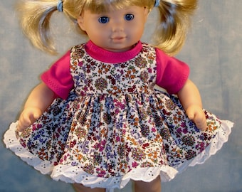 Summer Floral Jumper Outfit made to fit 15 inch baby dolls