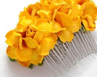 Bright Yellow Rose Floral Hair Comb Set/ Summer/ Traditional/ Bridal/ Wedding Hair Accessories/ Bridesmaid Hair Fascinator