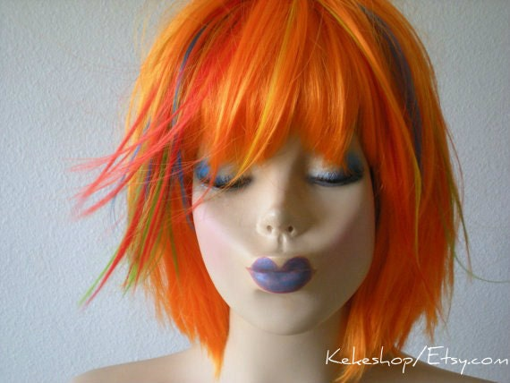 Short hairstyle wig. Orange wig. Rainbow hair wig. Orange red green yellow turquoise multi colors wig.