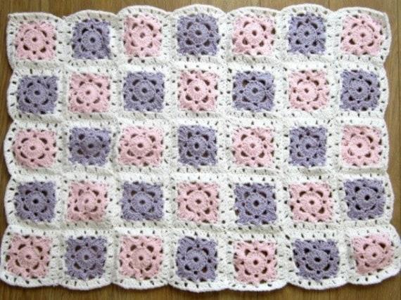 Baby Blanket Crochet Pattern Pink and Lilac Pram Blanket