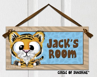Tiger Door Sign, Blue, Safari Jungle Animals, Home Decor, Office Decor, School Classroom Decor