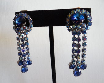 Sapphire Blue Rhinestone Surrounded by Blue Aurora Borealis Rhinestone Clip Earrings - Gorgeous
