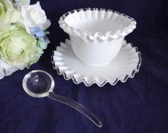 Fenton Silver Crest Crimped Mayonnaise Bowl with Underplate and Glass Ladle - Gorgeous White Glass Dip Condiment Bowl