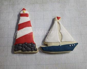 Nautical Theme  Sail Boat & Lighthouse  Sugar Cookies 1 Dozen (12)