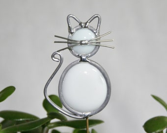 Stained Glass White Cat Plant Stake, Cat Garden Art