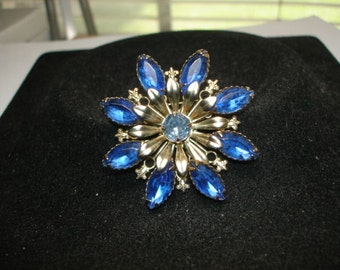 Blue Rhinestone Flower Gold Tone Brooch