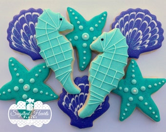 Ocean Beach Under the Sea Cookies - Purple and Teal - 1 Dozen