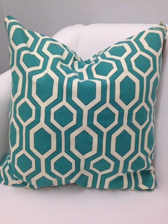 Modern Pillow Covers Etsy : Modern Lattice Teal Pillow Cover 18 by WildwoodLanding on Etsy