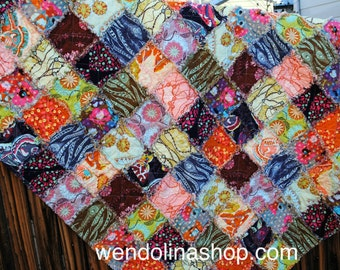 Large Throw Shabby Chic Reversible Rag Quilt