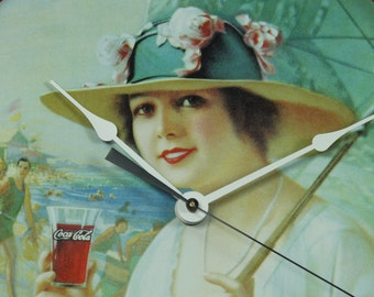 Coca Cola Tray Wall Clock, Girls At The Seashore, Geekery, Clocks by DanO