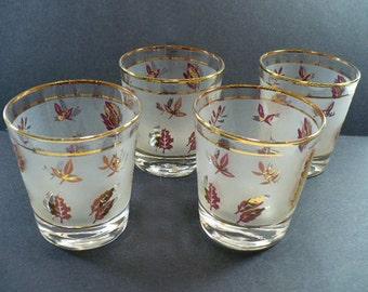 Libbey Glasses  Golden Foliage Barware Vintage Kitchen 1960s