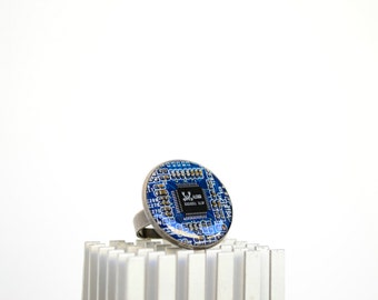 Circuit board geometric ring, blue adjustable geekery ring, modern jewelry, computer parts jewelry