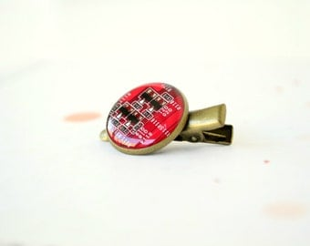 Hair Clip - Red Circuit Board Alligator Clip - Hair Accessories - Cute - Geekery - Geeky Girl - For Kids