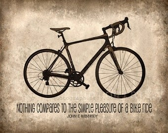 Nothing Compares - photo print - Bicycle Poster Wall Art JFK Quote Simple Pleasure of Riding a Bike Brown Beige Tan Sepia Texture Boys Room