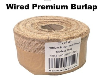 "2"" Wired Burlap Ribbon - 10 Yard Roll"