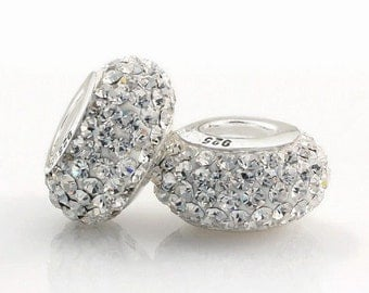 SALE 1PC Crystal Rhinestone Beads European Charm Bead with Silver Screw Threaded Core - Fits European charm bracelets / PU2