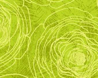 Always Blooming by P&B  1 yard Etched Roses in Green 968G 1 yard