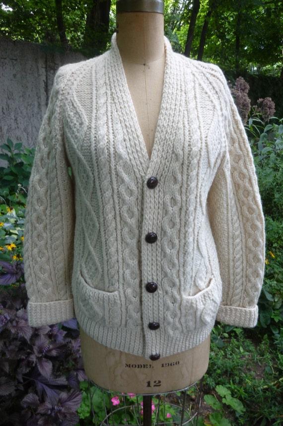 Vintage Aran Irish Knit Cardigan Sweater Made in Ireland by