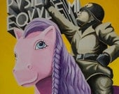 Evola pusille equule mi. Print of my original painting, Mussolini, dux anti fascism, riding a pink  my little pony