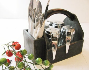 Wood condiment tote, Condiment carrier