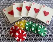 12 Fondant Edible cupcake/cake toppers - Poker party/Las Vegas/gambling party,fondant poker chips, edible poker chips, fondant playing cards