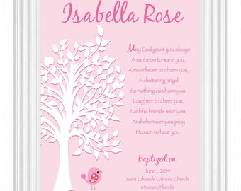 Personalized BAPTISM Gift - 8x10 Print - Christening - Dedication - Communion - Gift for Goddaughter - Can be done in other colors