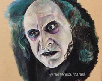 6in x 9In Print of a Reese Hilburn Original Prisma Colored Pencil Drawing: Danny DeVito as  The Penguin