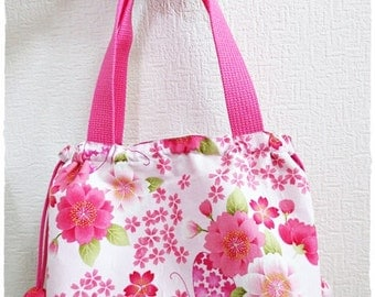 Japanese pink butterfly sakura drawstring bag