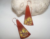 Copper, copper enamel, enamel drop earrings,