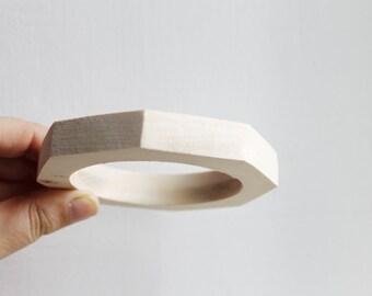 15 mm Wooden bracelet unfinished round octahedral - natural eco friendly OKT15
