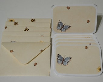 3 x 4 cards with coordinating wallpaper envelopes set of 6 butterfly bees blank inside for note cards gift thank you cards